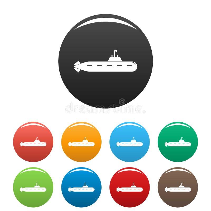 Colore sottomarino militare dell'insieme delle icone illustrazione vettoriale