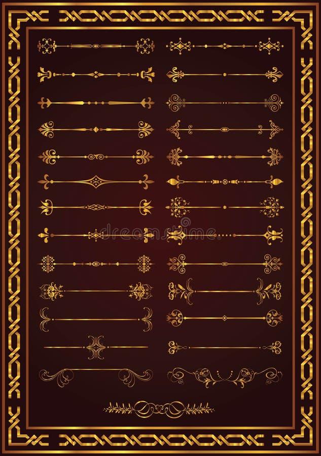Colore stabilito piacevole dell'oro degli elementi della decorazione della pagina royalty illustrazione gratis