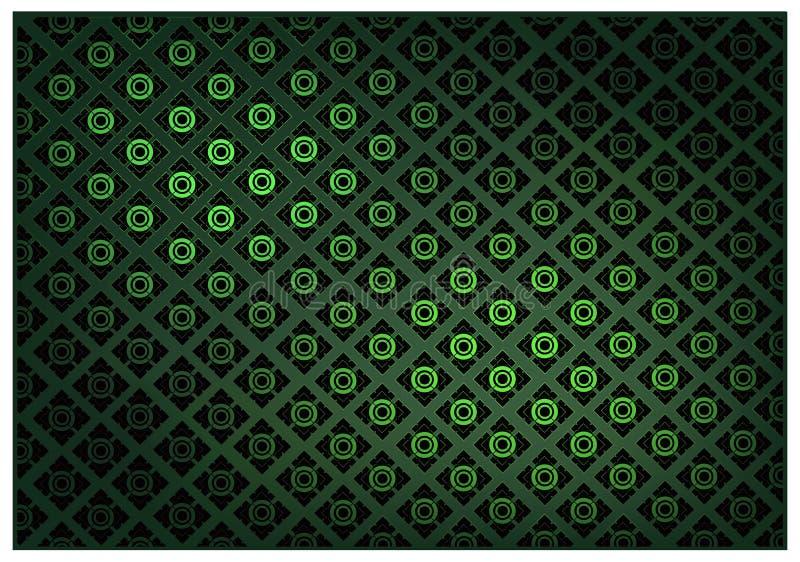 Colore verde del fondo d'annata tailandese del modello della carta da parati illustrazione vettoriale
