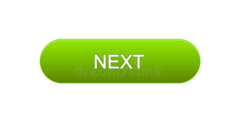 Colore verde di web del bottone seguente dell'interfaccia, progettazione del sito internet, programma online royalty illustrazione gratis