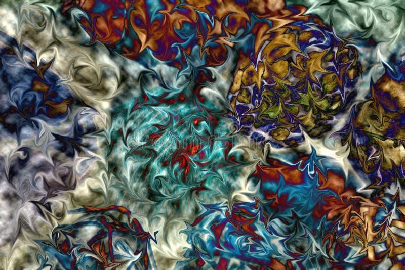 Colore vibrante in composizione in moto Astratto, turbinare, blu, verde, rosa, fondo della ruggine fotografie stock libere da diritti