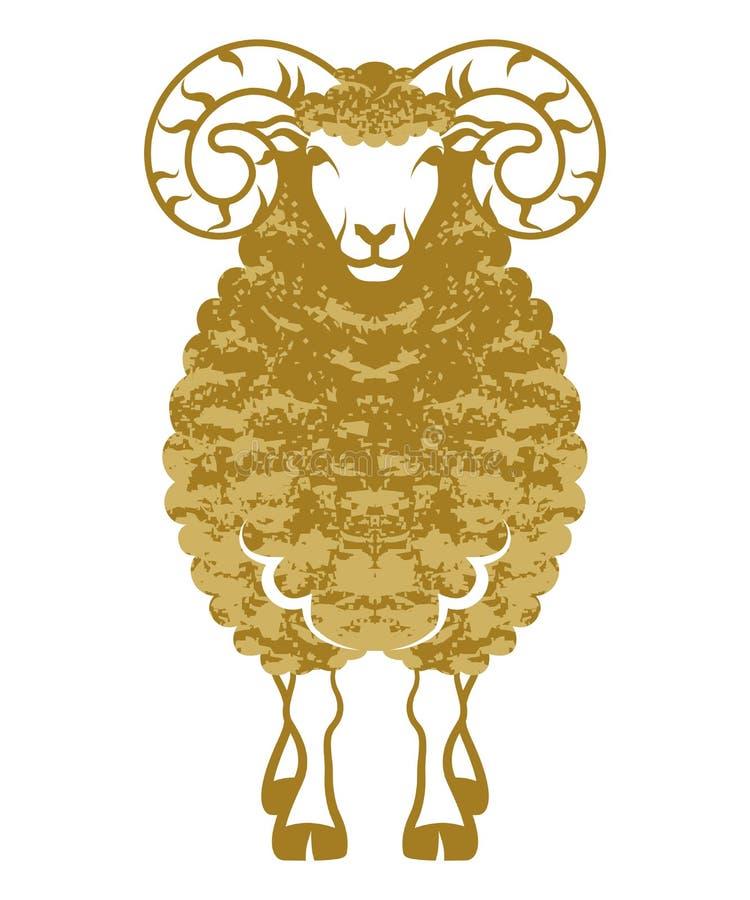 Colore vista-dorato anteriore delle pecore illustrazione vettoriale