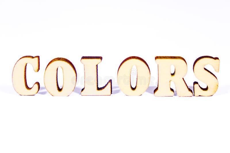 Colorea letras de madera fotografía de archivo