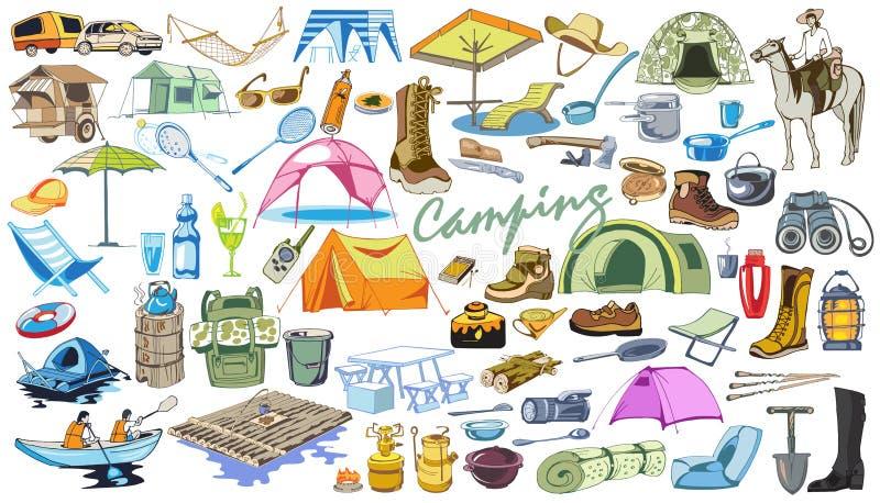 Coloreado el acampar y caminar la colección de los elementos stock de ilustración
