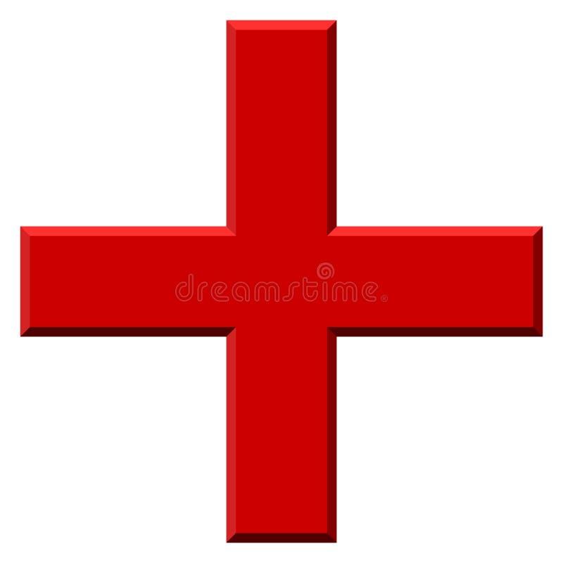 Coloreado más símbolo, más, icono cruzado con el efecto 3d libre illustration