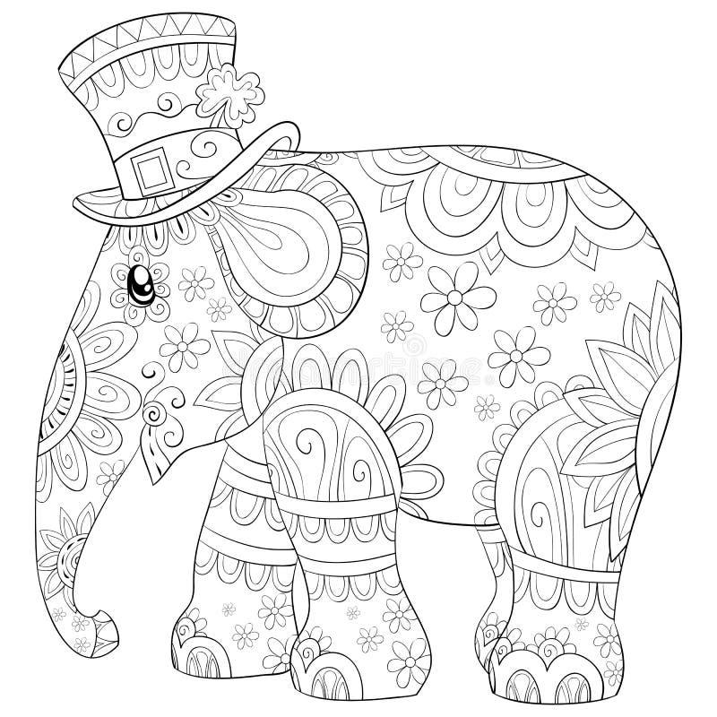 Coloreando la página, reserve una imagen linda para los niños, línea ejemplo del elefante del estilo del arte para relajarse ilustración del vector