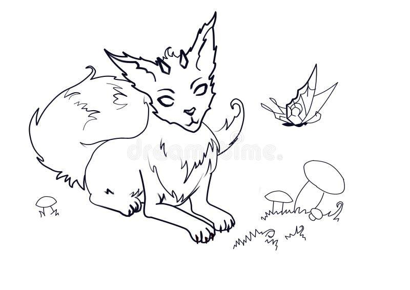 Colorear el Fox mágico con los cuernos ilustración del vector