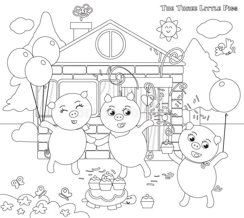 Colorear Tres Pequeños Cerdos 12: Conclusión Feliz Ilustración del ...