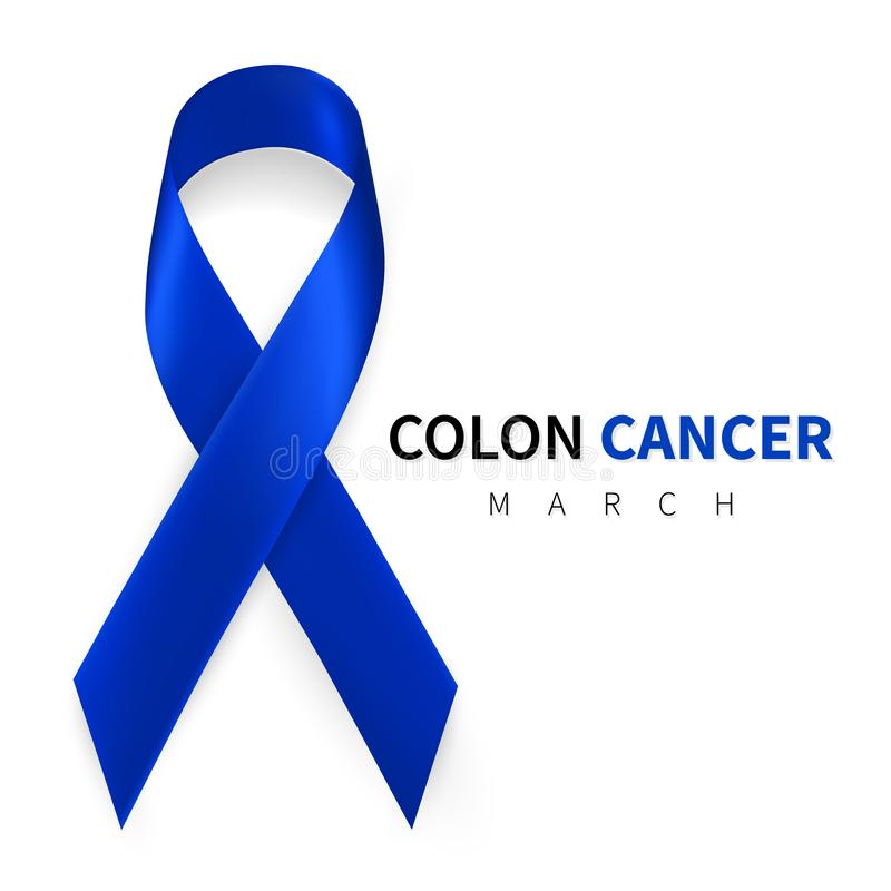 Colorectal, Colon Cancer Awareness Month. Realistic Dark Blue ribbon symbol. Medical Design. Vector illustration.  stock illustration