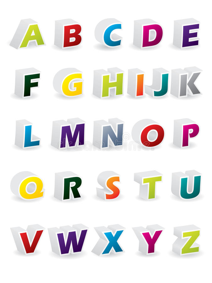 Download Colored 3d alphabet stock vector. Image of sign, learn - 14821819