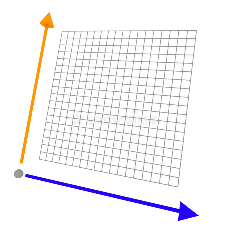 Colored 3d graph with grid royalty free illustration