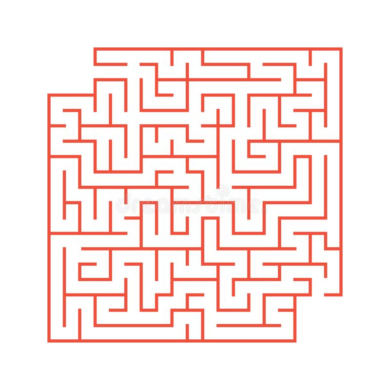 A colored abstract square maze with an entrance and an exit. Simple flat vector illustration isolated on white background. With a royalty free illustration
