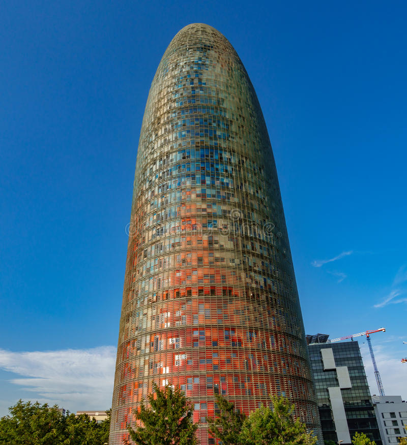 Colored Agbar tower in Barcelona. BARCELONA, SPAIN - JULY 11, 2017 - Impressive multi colored Agbar tower in Barcelona, Spain royalty free stock images