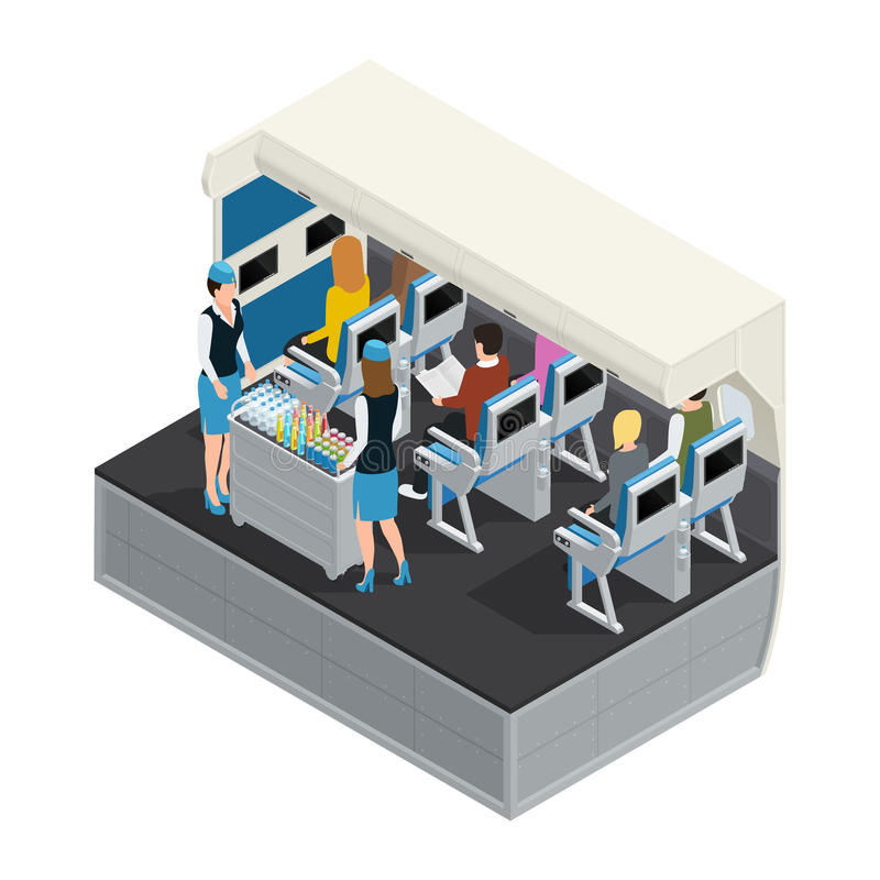 Colored Airplane Interior Isometric Composition stock illustration