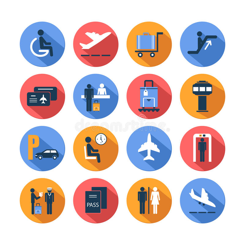 Colored airport icons set royalty free illustration