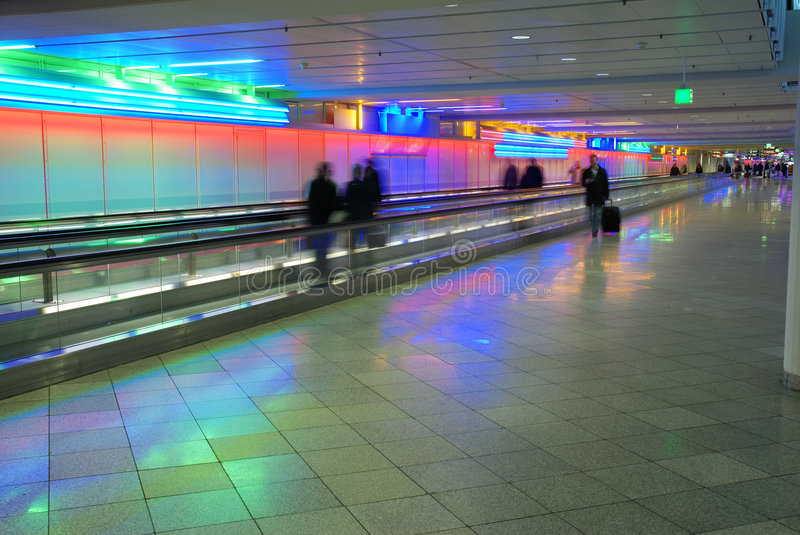 Colored airport walkway stock photos