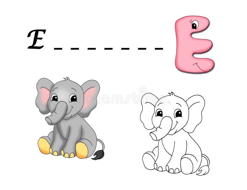 Colored alphabet - E royalty free illustration