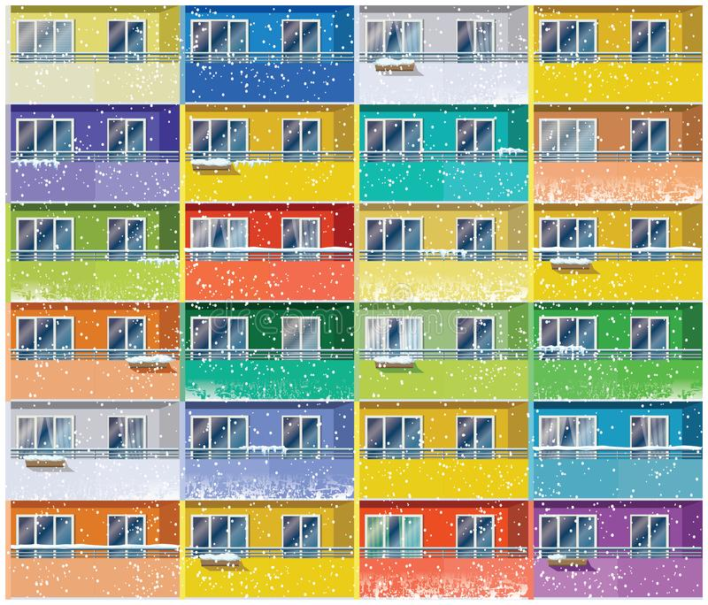 Colored apartments in winter. Stylized vector illustration of a colored apartments house in winter. Seamless in all directions if needed vector illustration