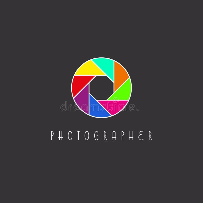 Colored aperture of the camera lens, photo studio logo. Colored aperture of the camera lens logo, photo studio logotype royalty free illustration