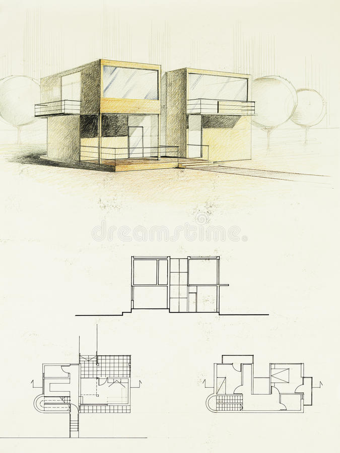 Colored Architectural Sketch Of A Modern House Stock Image Image - Modern house sketch