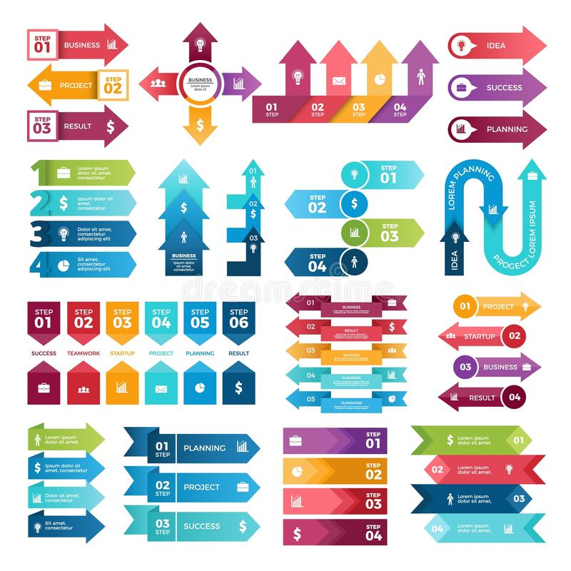 Colored arrows for business presentations. Vector collection of infographic elements vector illustration