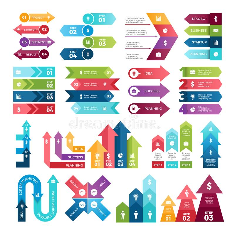 Colored arrows for design projects of infographics. Visualizations of steps. Pictures for business presentations royalty free illustration