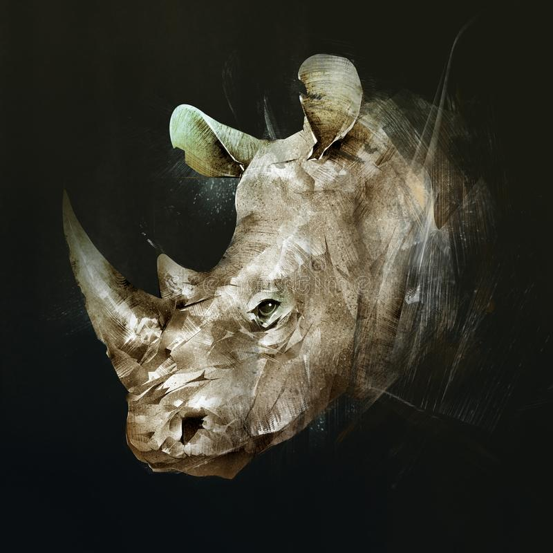 Colored drawing of the muzzle of the Rhino on the side stock photo