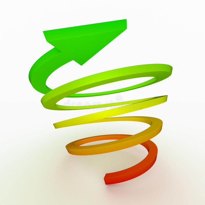 Colored ascent arrow, spiral royalty free illustration