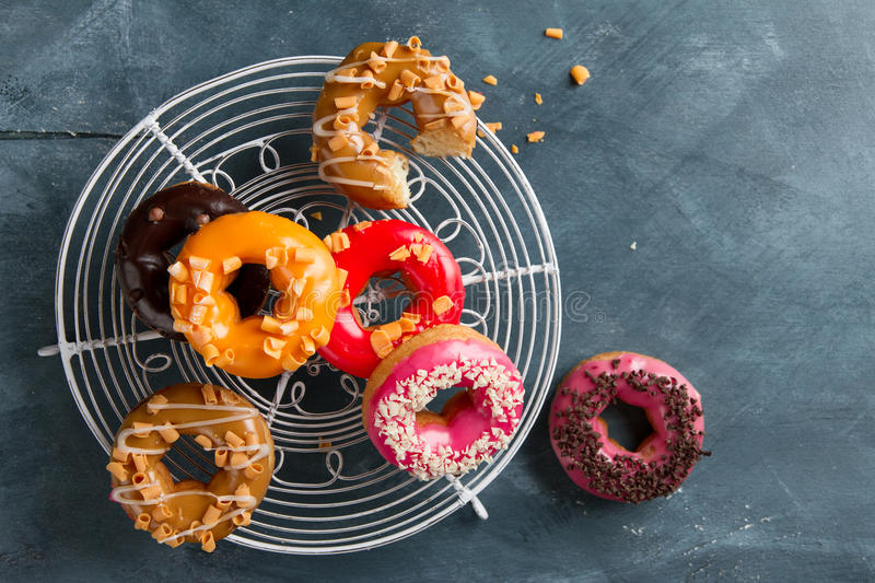 Colored assorted donuts royalty free stock images