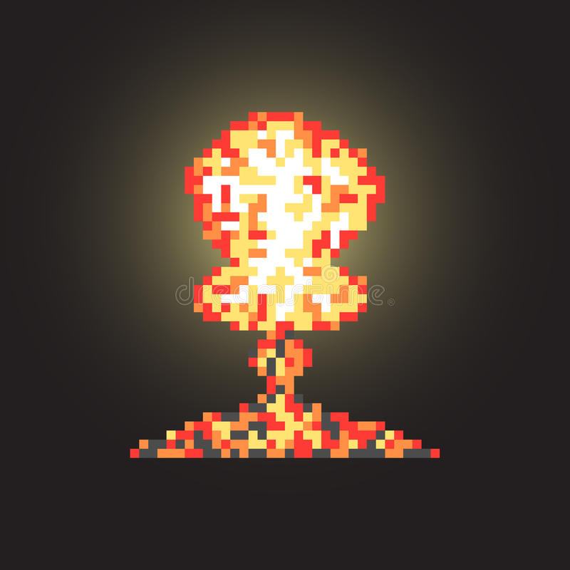 Colored atomic explosion in pixel art with flash vector illustration