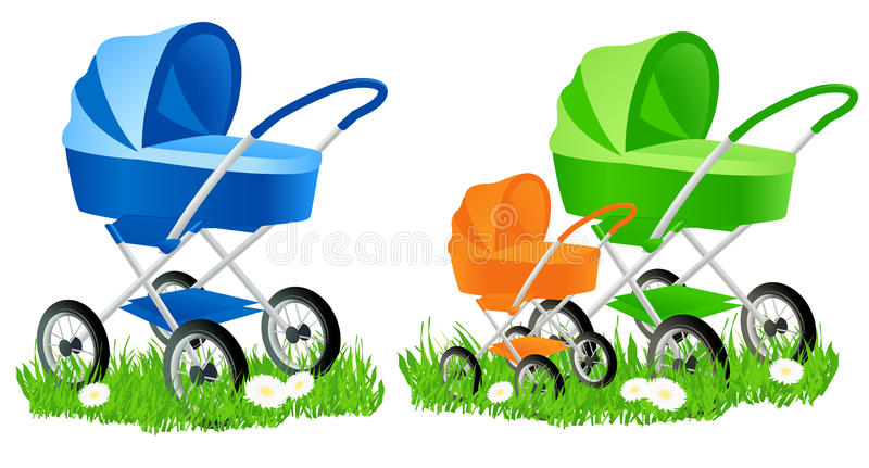 Colored baby carriages stock illustration