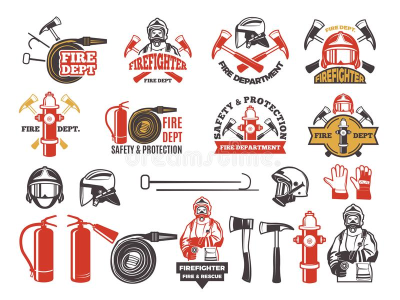 Colored badges for firefighter department. Symbols set of emergency protection isolated on white stock illustration