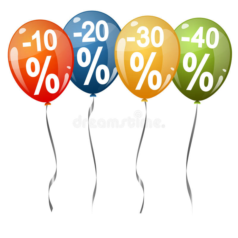 colored balloons with percentage signs stock illustration