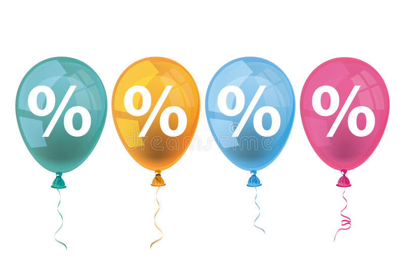 4 Colored Balloons Percents. Percents with colored balloons on the white background stock illustration