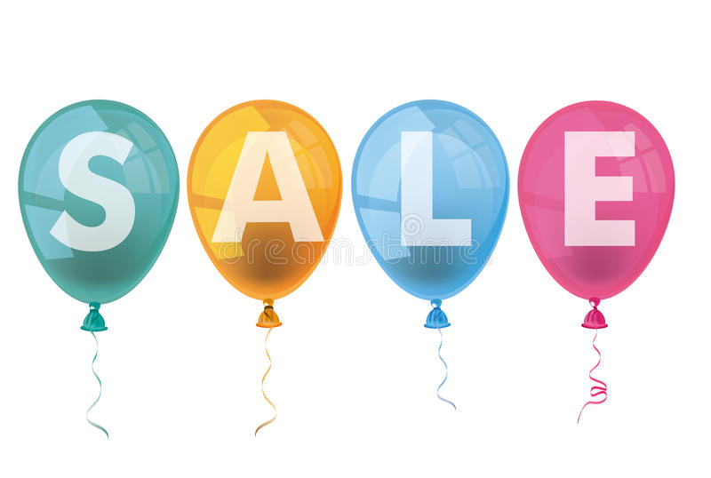 4 Colored Balloons Sale vector illustration