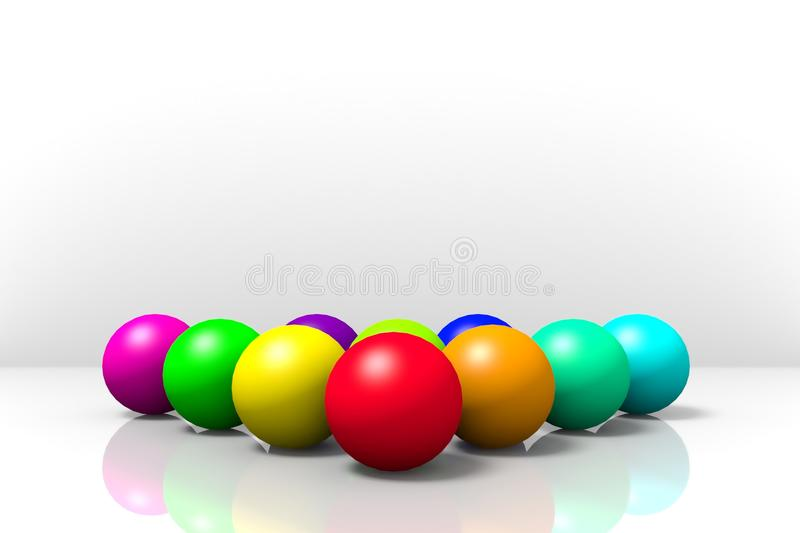Colored balls on a white mirrored background. vector illustration