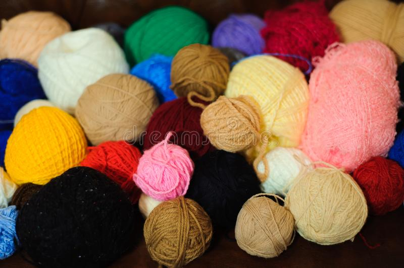 Colored balls of yarn. View from above. Rainbow colors. stock image