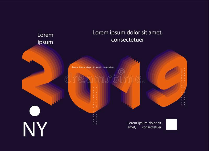 2019 Colored . Banner with 2019 Numbers. Vector New Year illustration. 2019 Colored . Banner with 2019 Numbers. Vector New Year illustration royalty free illustration