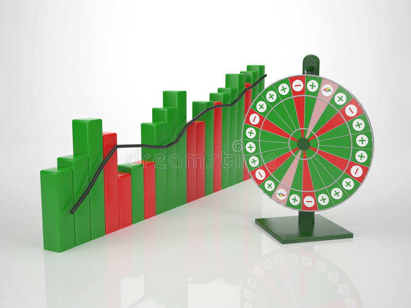 Colored Bar Diagramm with Wheel of Fortune. Luck is part of it stock illustration