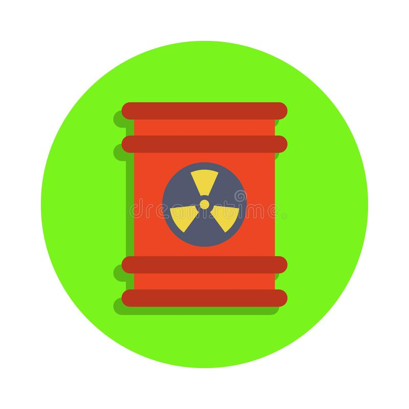 colored barrel of radioactive liquid in green badge icon. Element of science and laboratory for mobile concept and web apps. Detai royalty free illustration