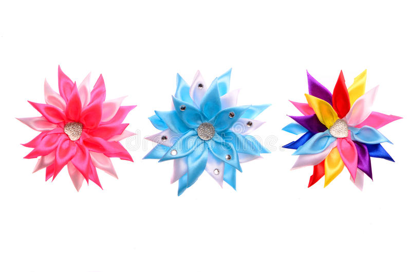 Colored barrettes with shiny stones stock photos