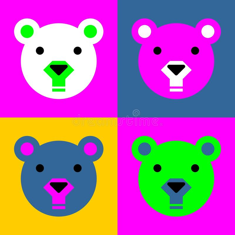 Colored Bear Face royalty free illustration