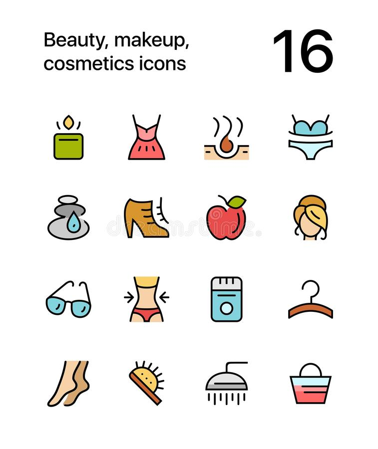 Colored Beauty, cosmetics, makeup icons for web and mobile design pack 2 vector illustration