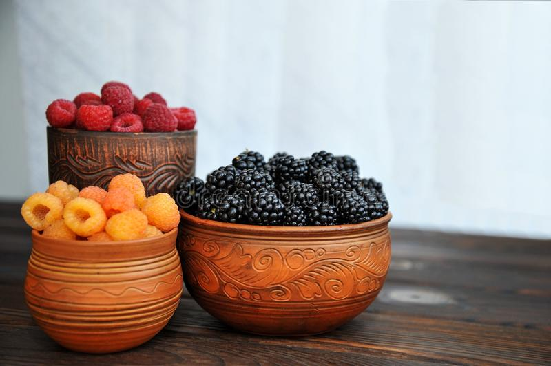 Colored berries of red, yellow and black raspberries or blackberries in earthenware on a  table royalty free stock image