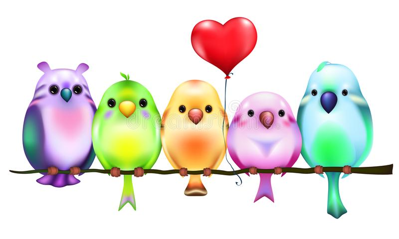 Colored birds sitting on branch with red heart balloon. Funny colored cartoon birds sitting on branch with red heart balloon stock illustration
