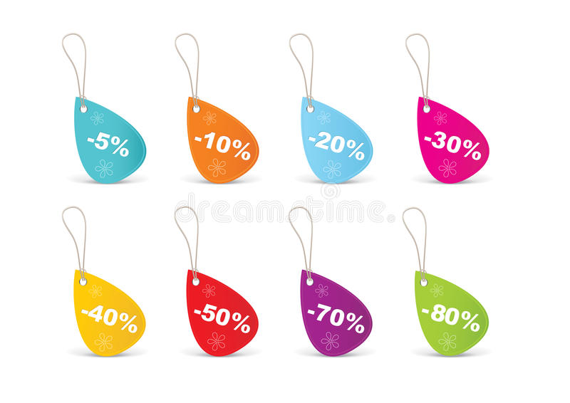 Colored blank sales tags stock illustration
