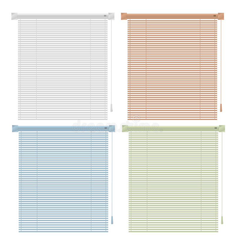 Colored blinds. Vector colored blinds isolated on white vector illustration