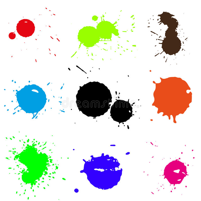 Colored blobs set. Colored ink blots. Vector illustration. Clip art vector illustration