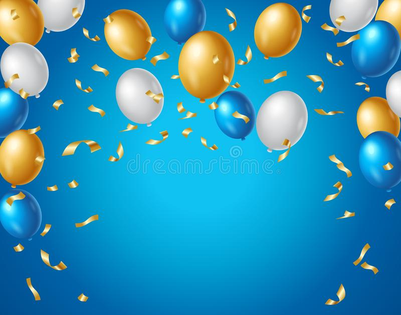 Colored blue, white and gold balloons and golden confetti on a blue background with space for your text. Colorful royalty free illustration