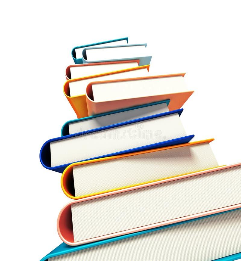 Colored books on white stock illustration